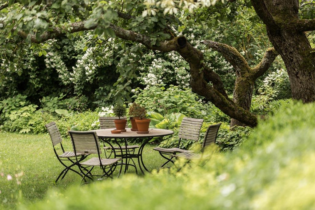 Sitzecke vor einem Baum