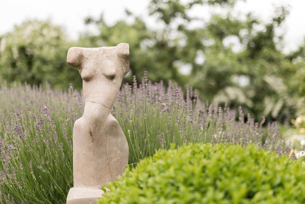 Statue vor Lavendelsträchern